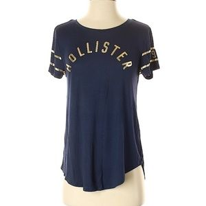 Hollister Navy Blue and Gold Logo Tshirt